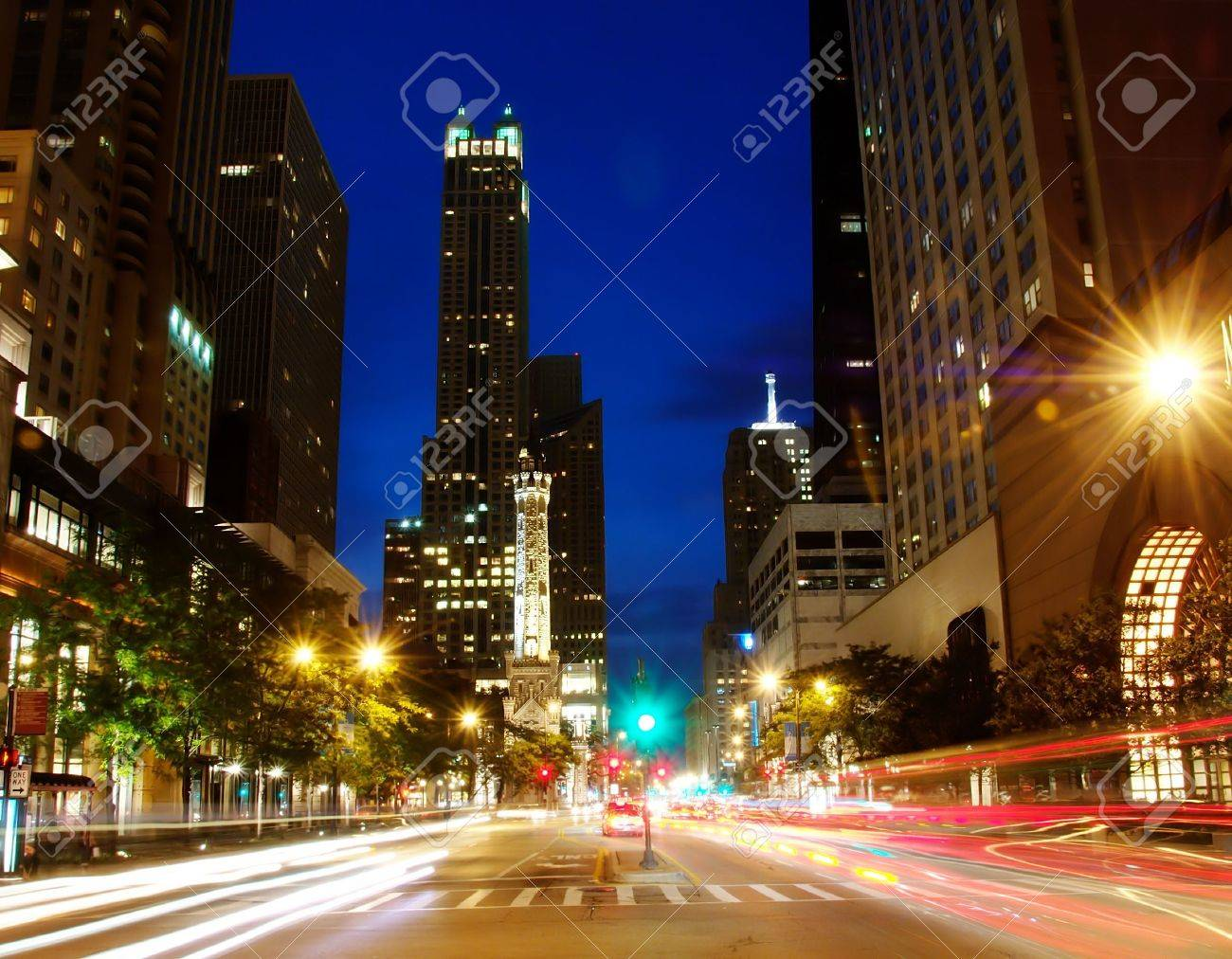 Michigan Ave in downtown Chicago at night. Stock Photo - 2242447