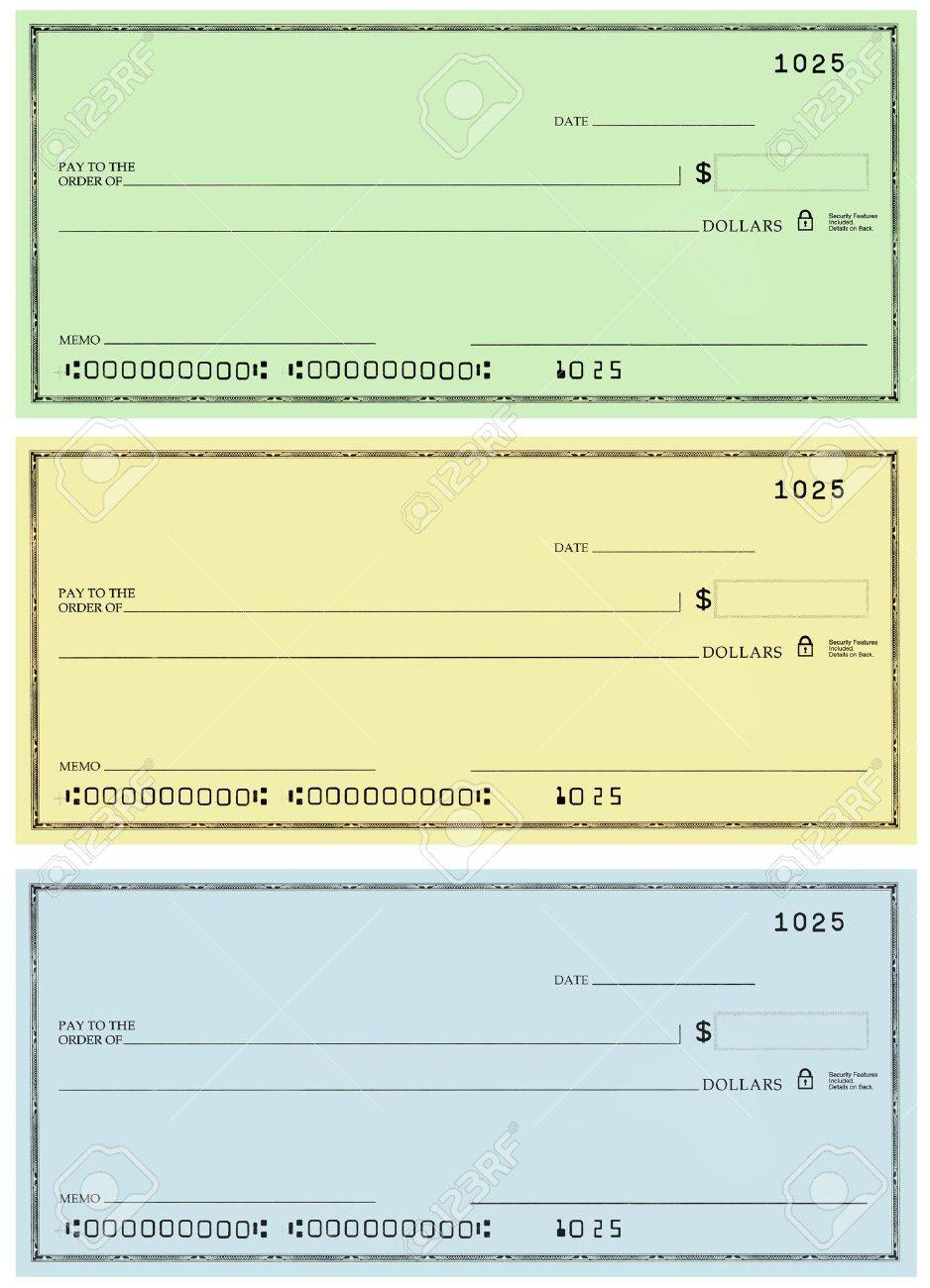 Three Blank Personal Checks With No Name And False Account Numbers ...