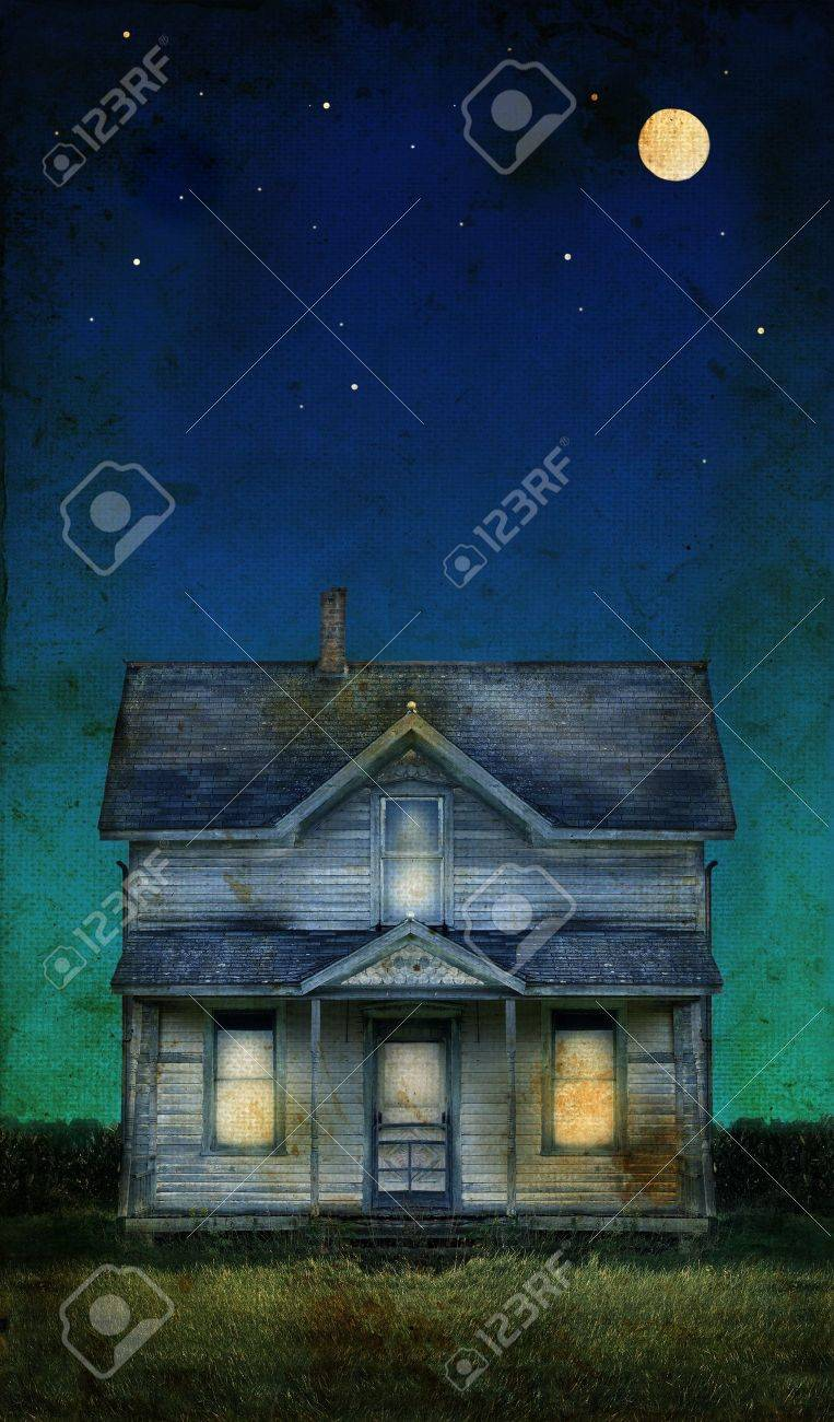 Old farmhouse with a full moon on a grunge background. Copy-space for text. Stock Photo - 3695816