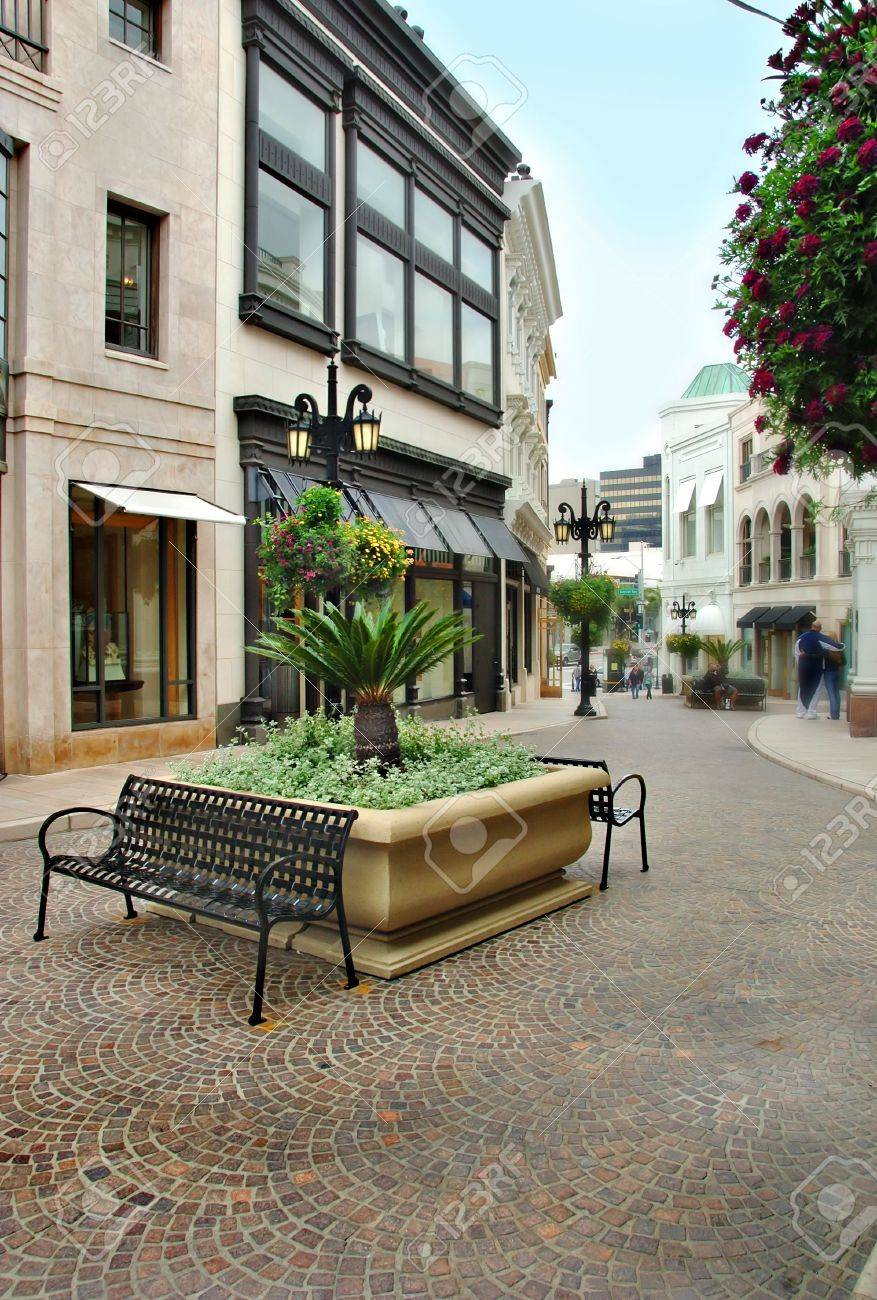 Benches on the cobblestone street of Via Rodeo in Beverly Hills California. Stock Photo - 4574603