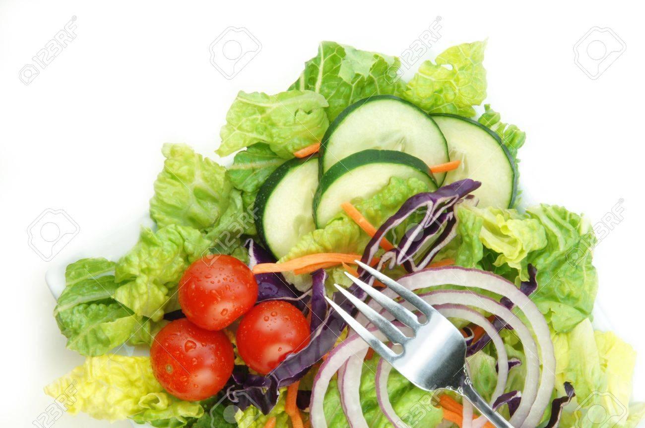Fresh Garden Salad With Lettuce Onion Tomato Cucumber On White