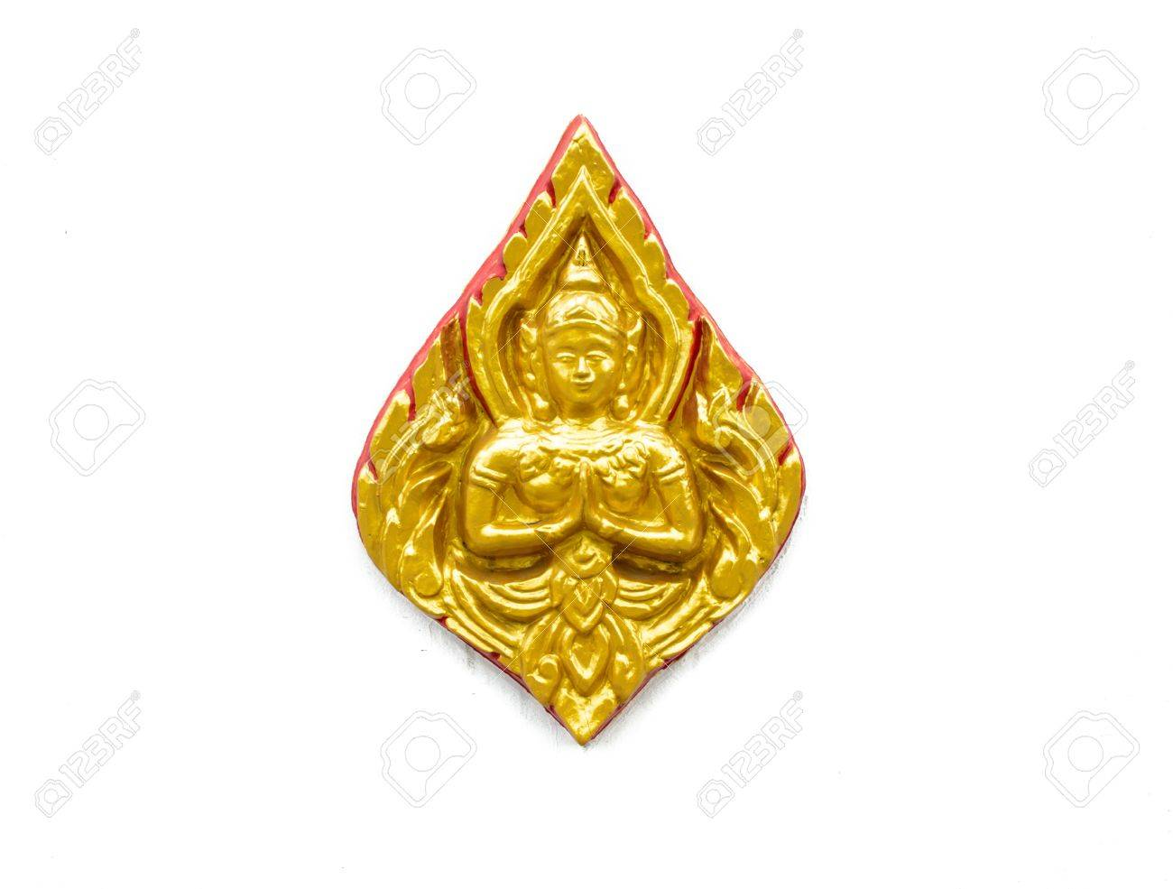 High Relief Golden And Red Sculpture Art Tradition Thailand Style ...