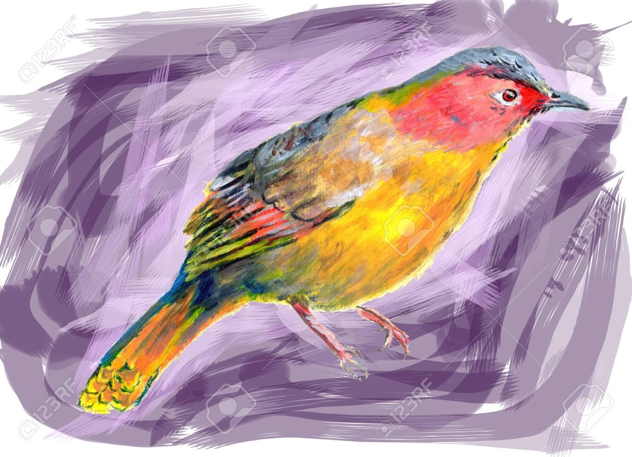 Peinture à L'huile Sur Papier Oiseau Banque