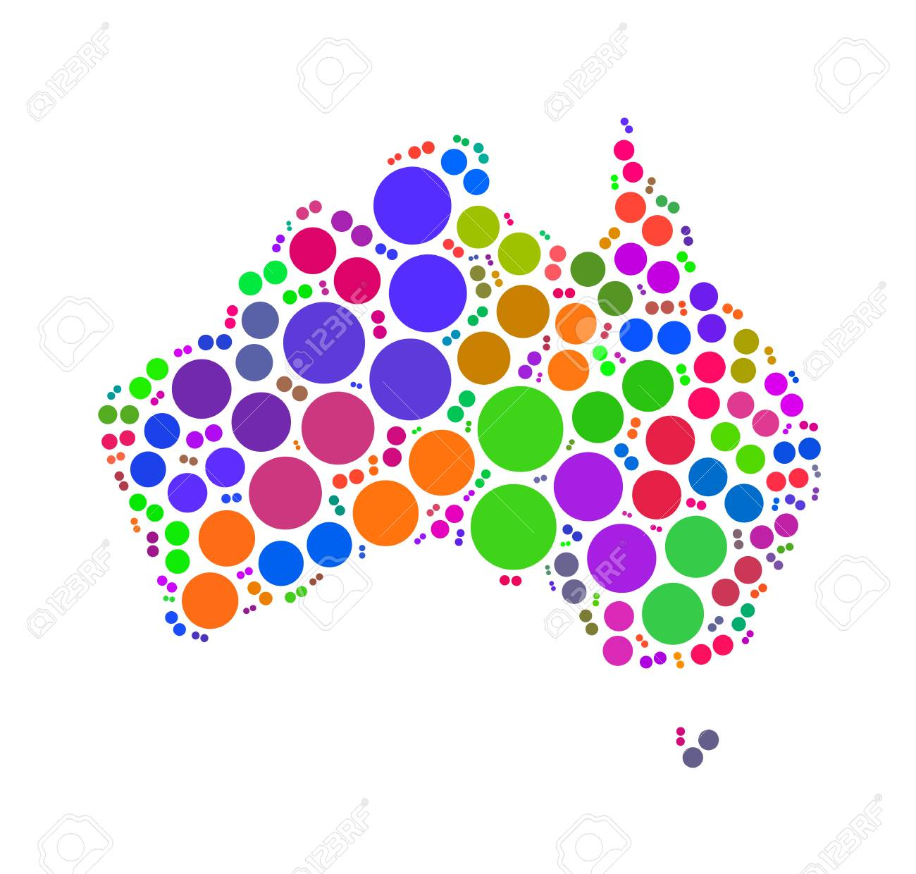 Australia Map Shape.Australia Map Shape Design By Color Point Stock Photo Picture And