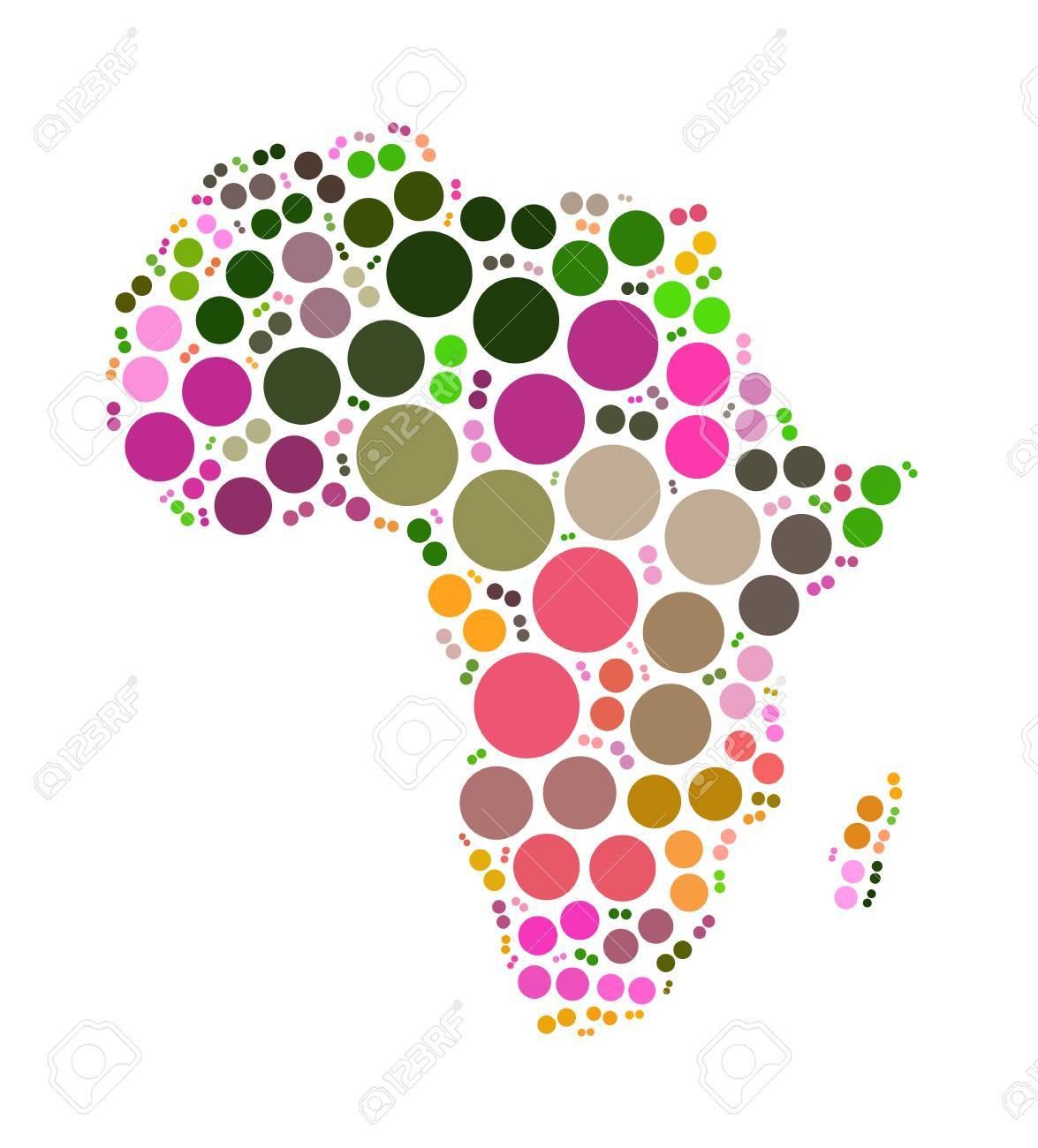 Africa Map Shape Design By Color Point Stock Photo Picture And