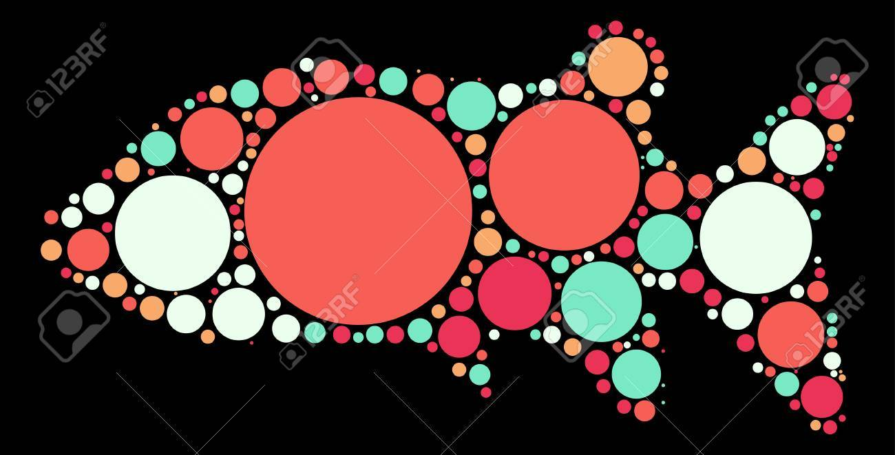 Fish Shape Design By Color Point Royalty Free Cliparts, Vectors, And ...