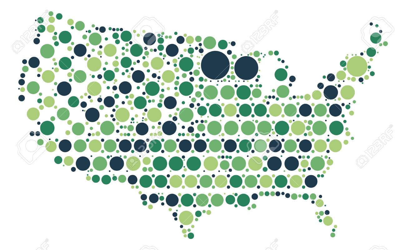 United States Map Shape Design By Color Point Royalty Free Cliparts ...