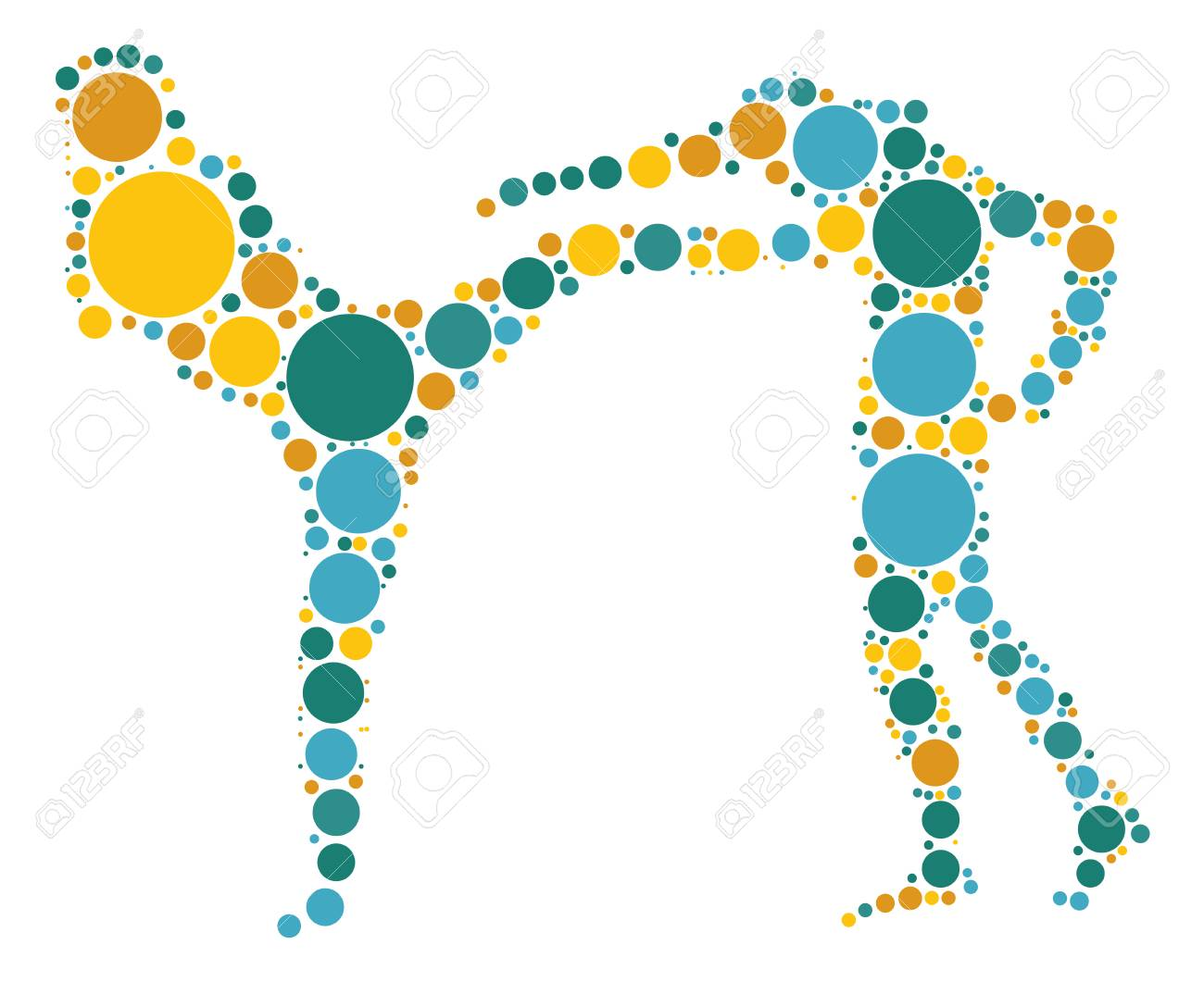 Muay Thai Shape Design By Color Point Royalty Free Cliparts Vectors