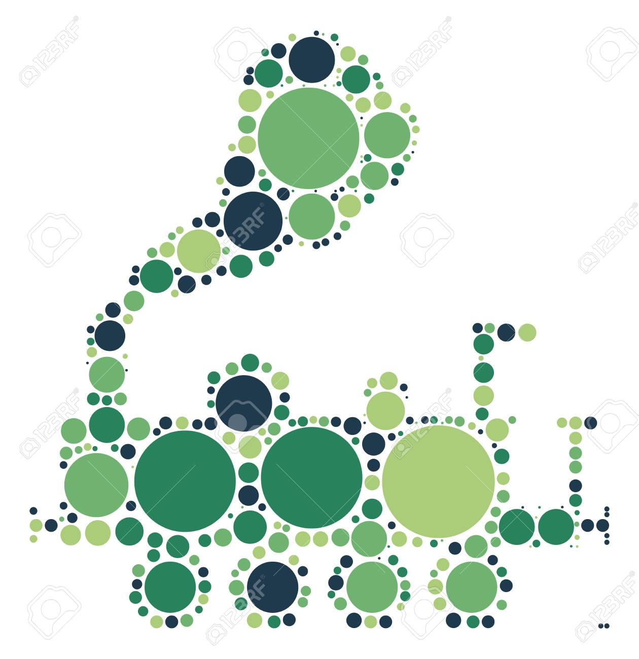 Train Shape Design By Color Point Royalty Free Cliparts, Vectors ...