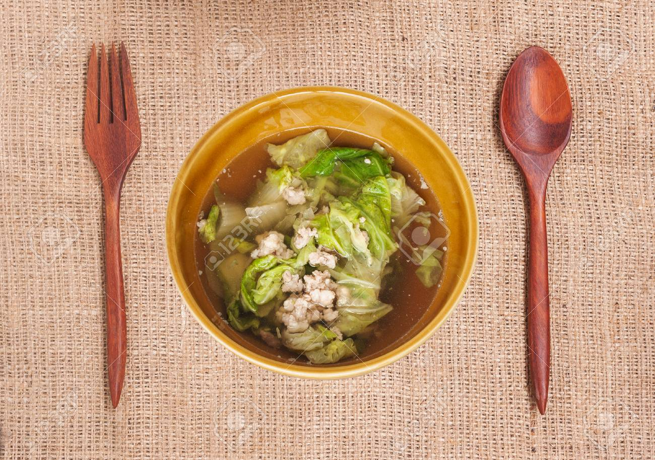Soup Made From Pork And Vegetable On Cloth Background Food Rainy