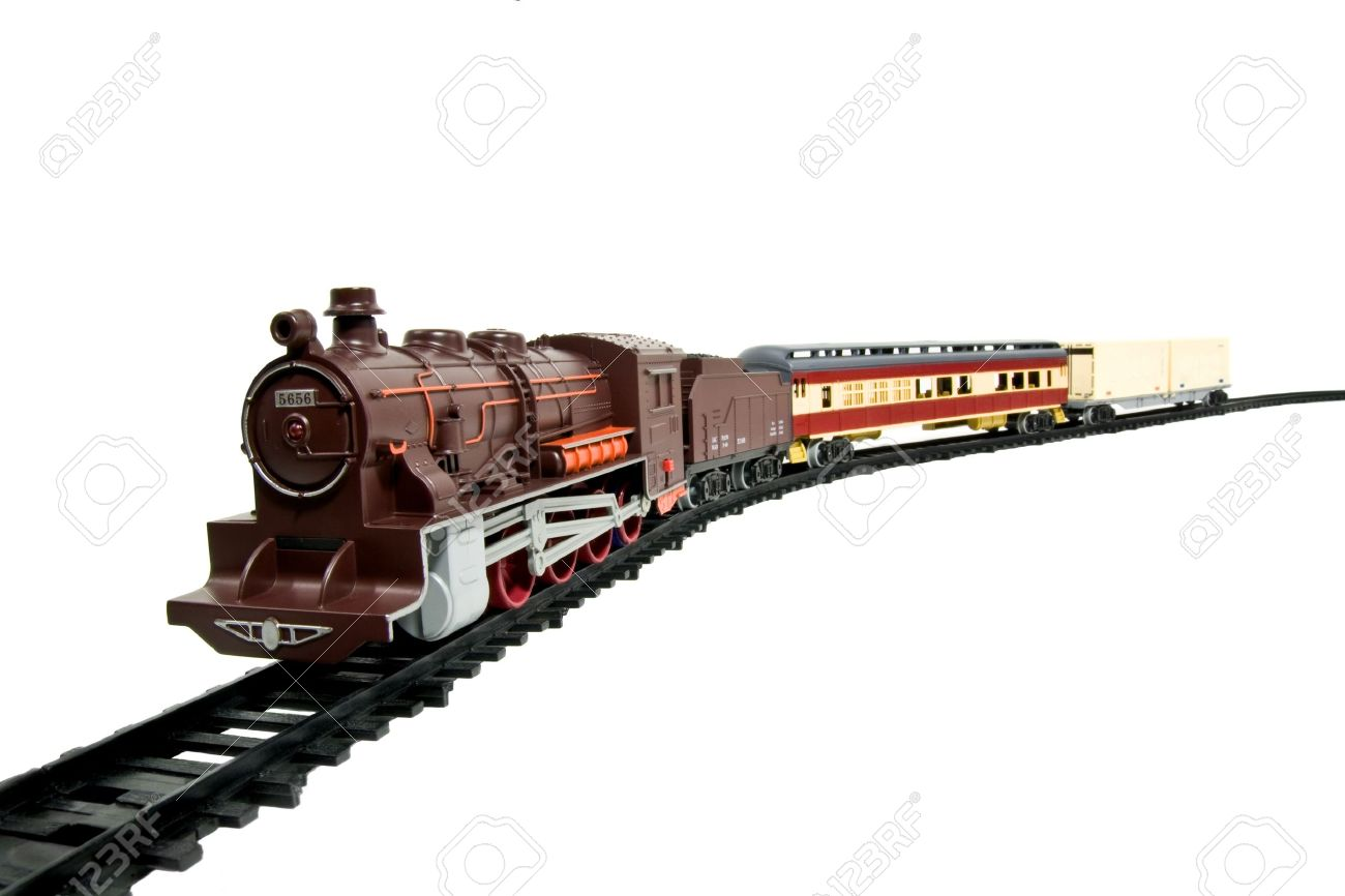 a child's toy train on its tracks isolated on white Stock Photo - 9179808