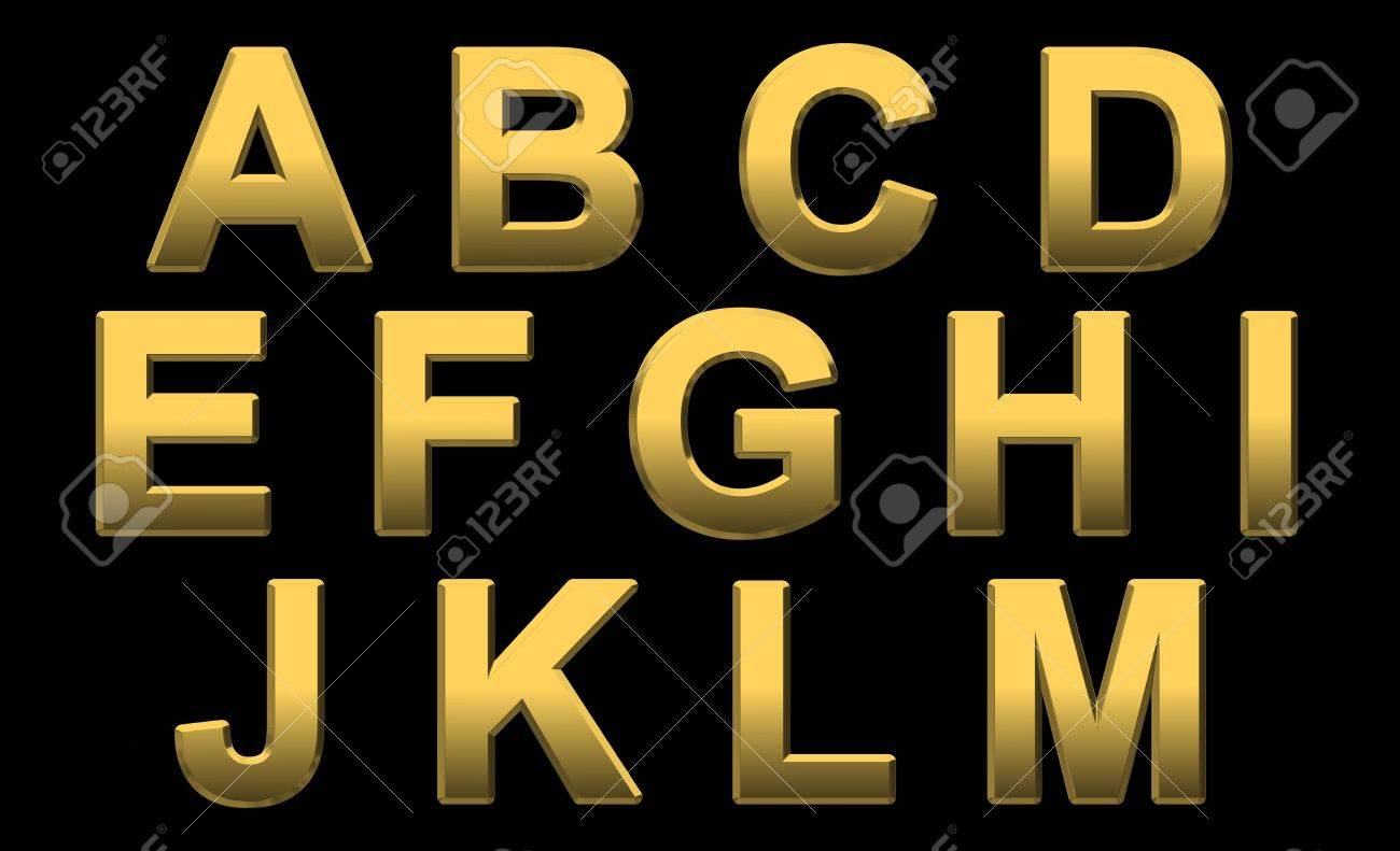 Gold Alphabet Letters Uppercase A - M On Black - 5872055