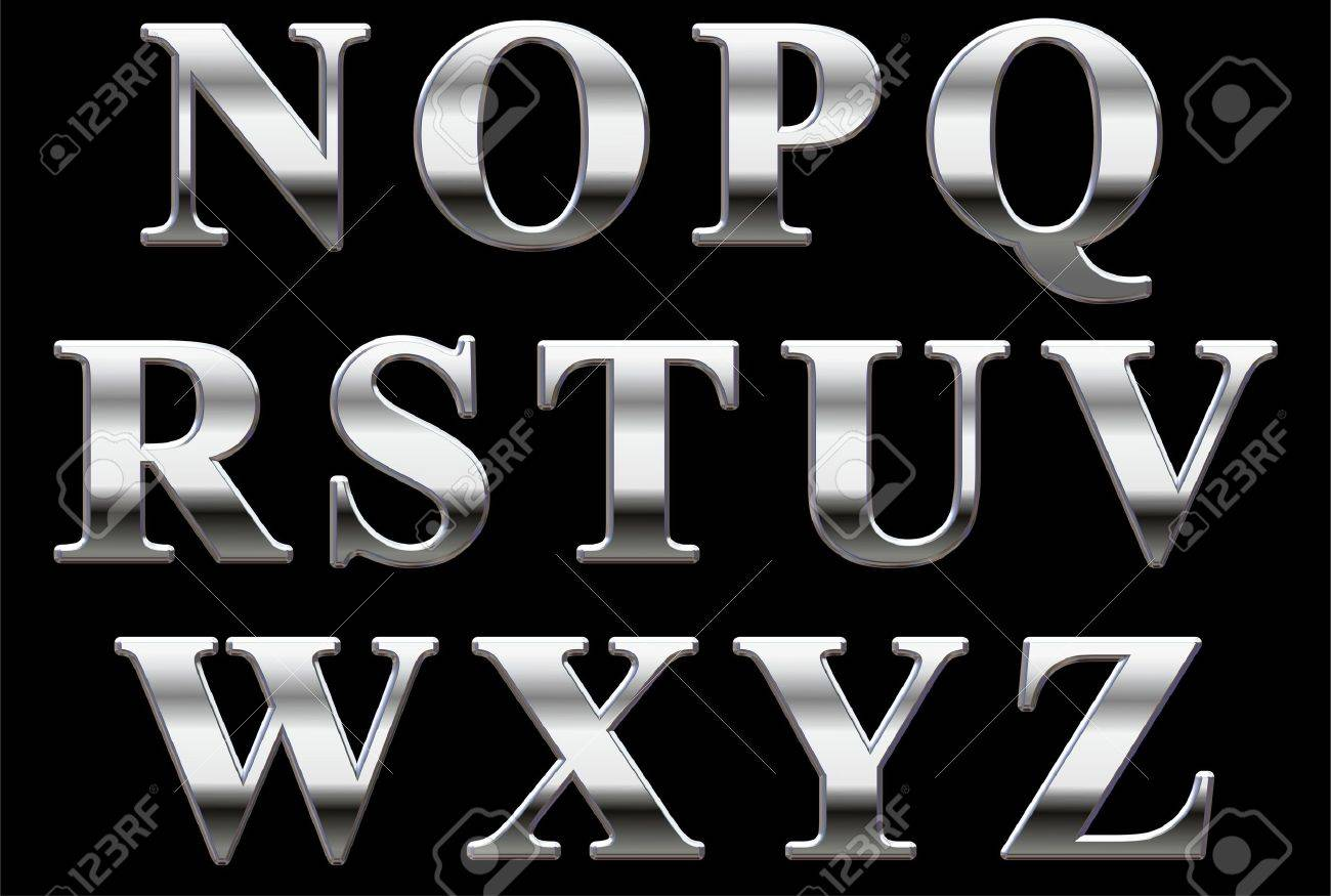 Chrome capital letters on a black background N-Z Stock Photo - 8621786