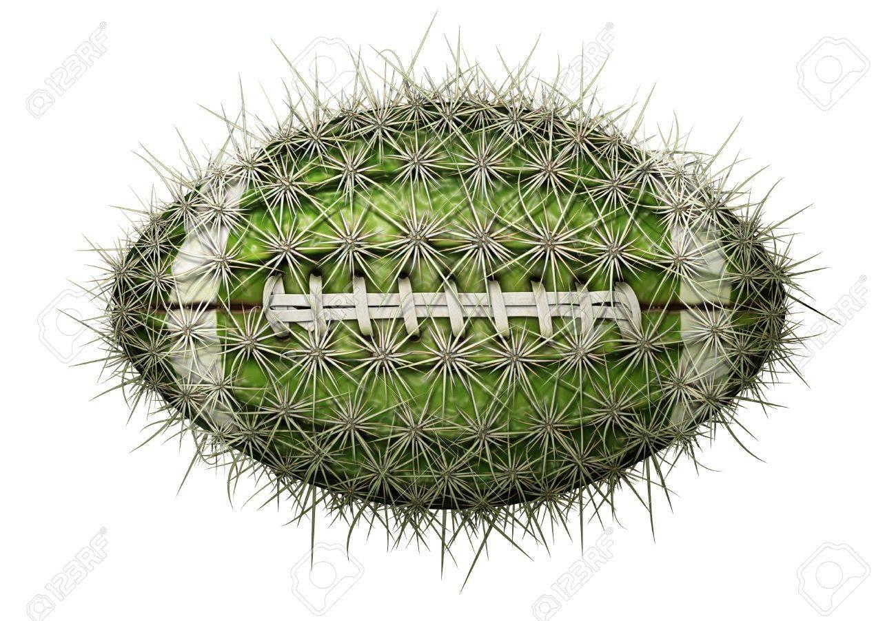 Digital illustration of a football-shaped cactus. Stock Illustration - 17095889