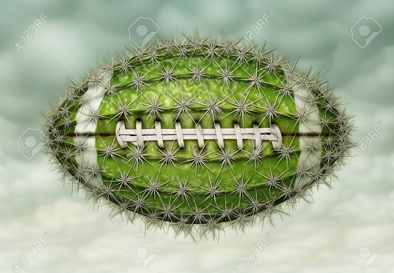 Digital illustration of a football-shaped cactus. Stock Photo - 17095885
