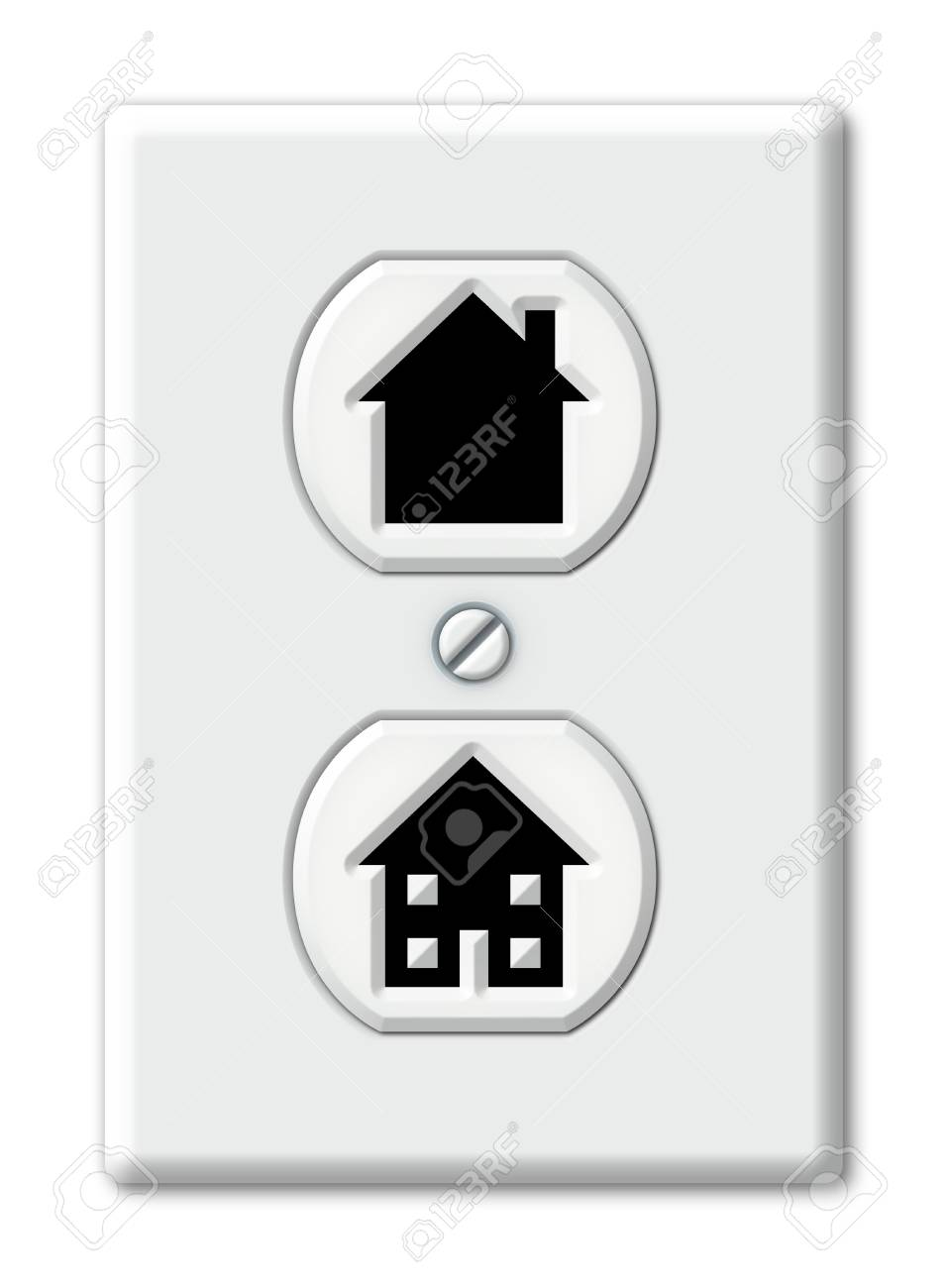 6434933ff764 Illustration of an electrical outlet with house shapes Stock Illustration -  18081786