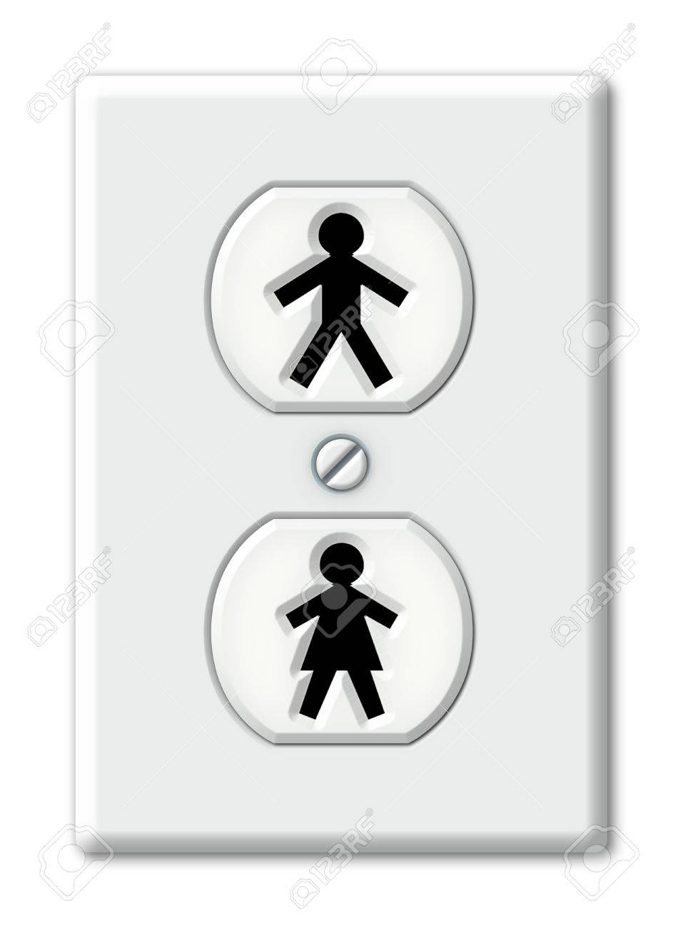 Illustration Of An Electrical Outlet With Symbols For Male And