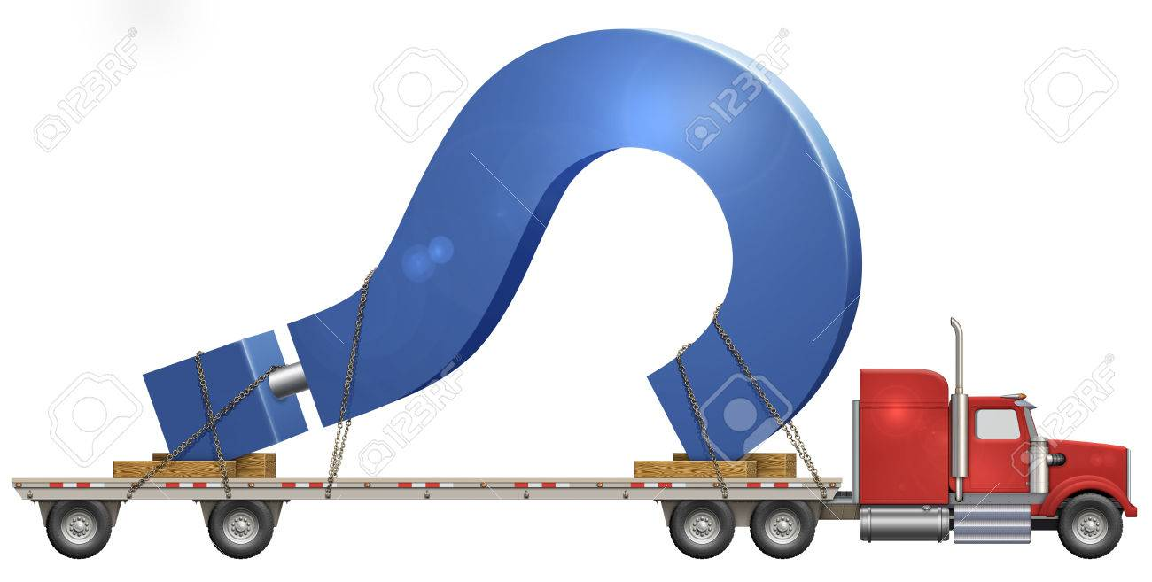 Illustration of a flatbed truck carrying a question mark stock illustration 29356709