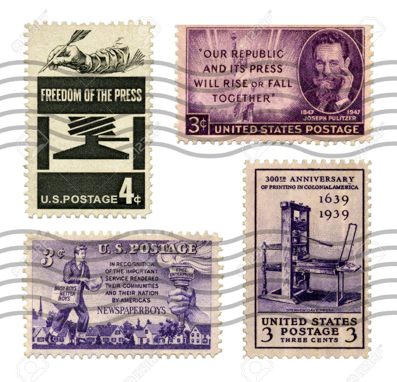 U S  Postage Stamps commemorating the Freedom of the Press, free