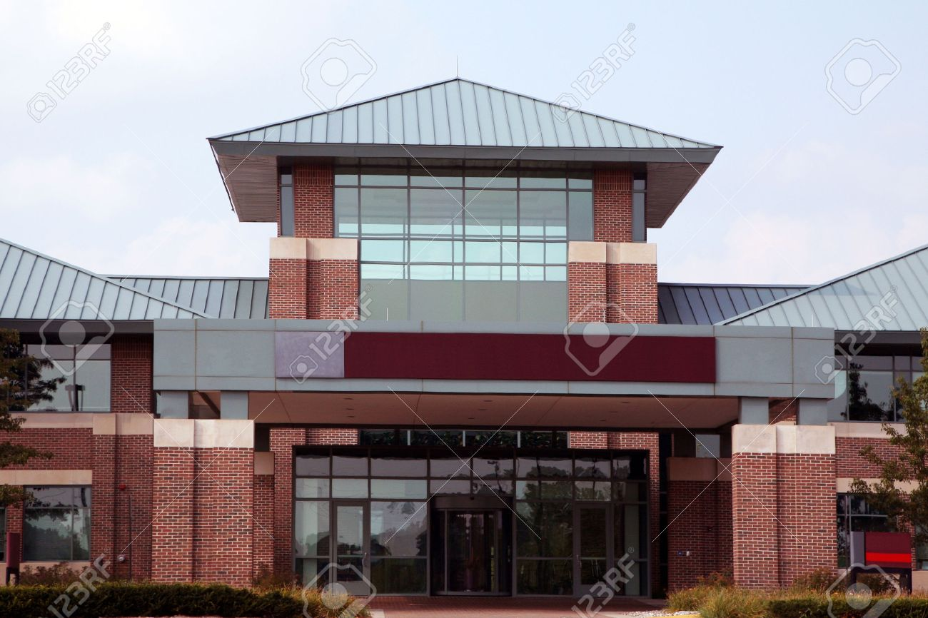 exterior office. Entrance To A Modern Low-rise Office Building Stock Photo Exterior