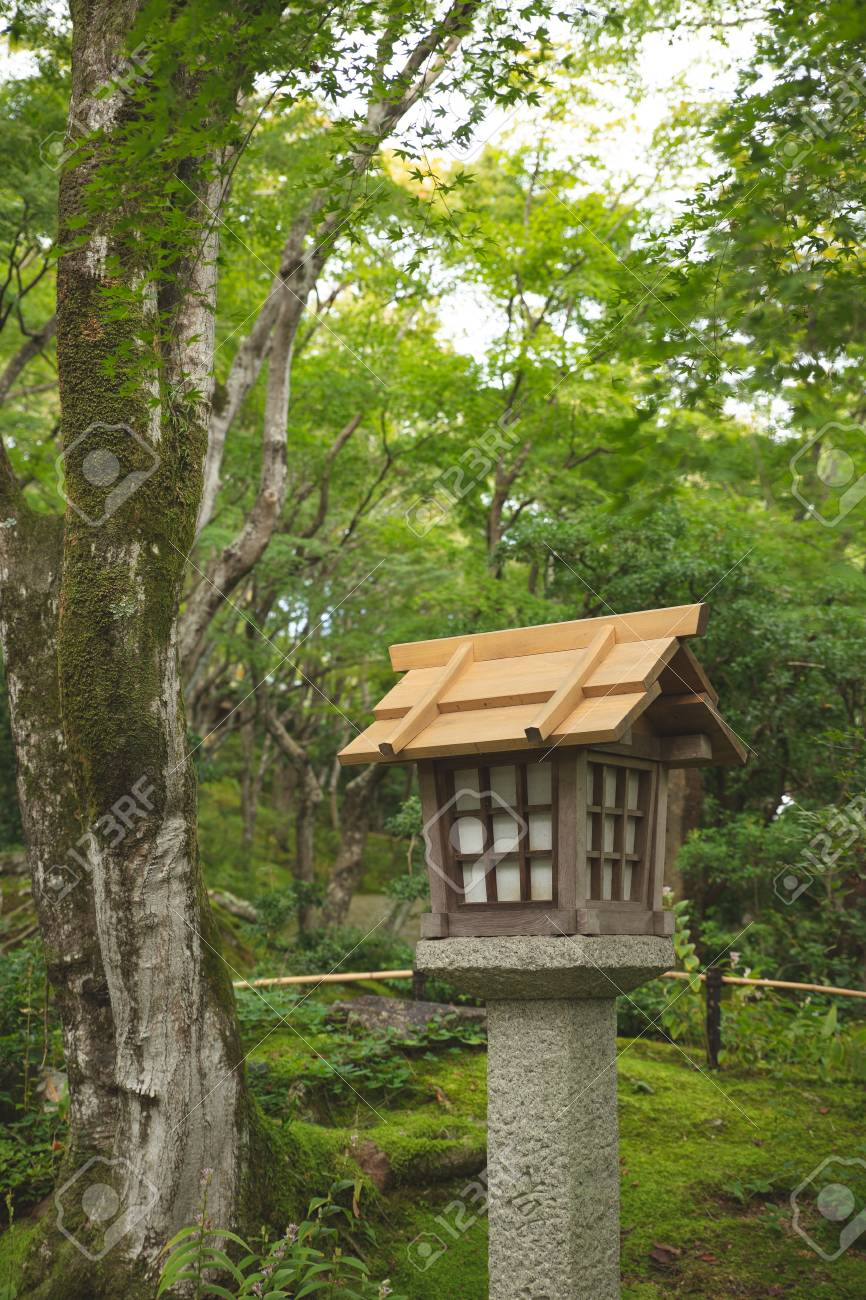 Japanese Wooden Lantern In The Park