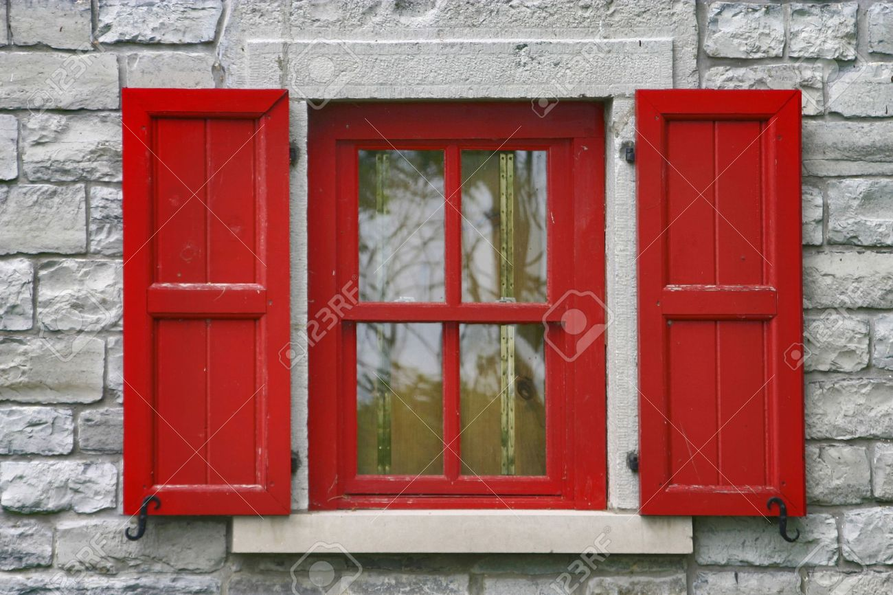 Brand new Red Window Shutters, Grey Stone Wall Stock Photo, Picture And  HG36