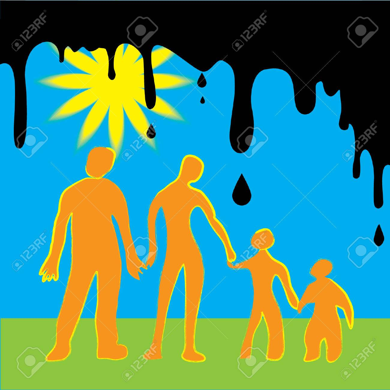 Made as kids drawing as a warning about disasters which can happened with humanity on earth. Happy family. Stock Vector - 7138417