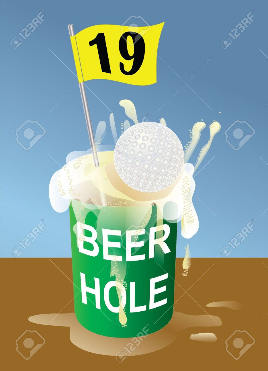 Beer 19th hole on golf course illustration. Hole-in-one. Stock Vector - 10527925