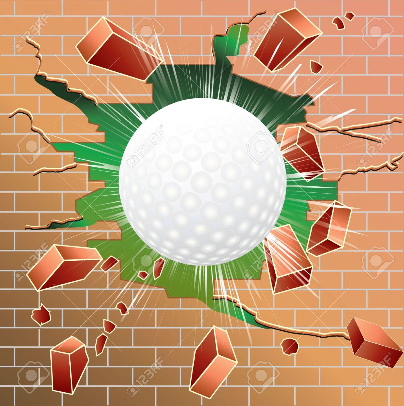 Cracked brick wall drawing brick wall - Golf Ball Breaking Through Red Brick Wall Stock Vector 13850463