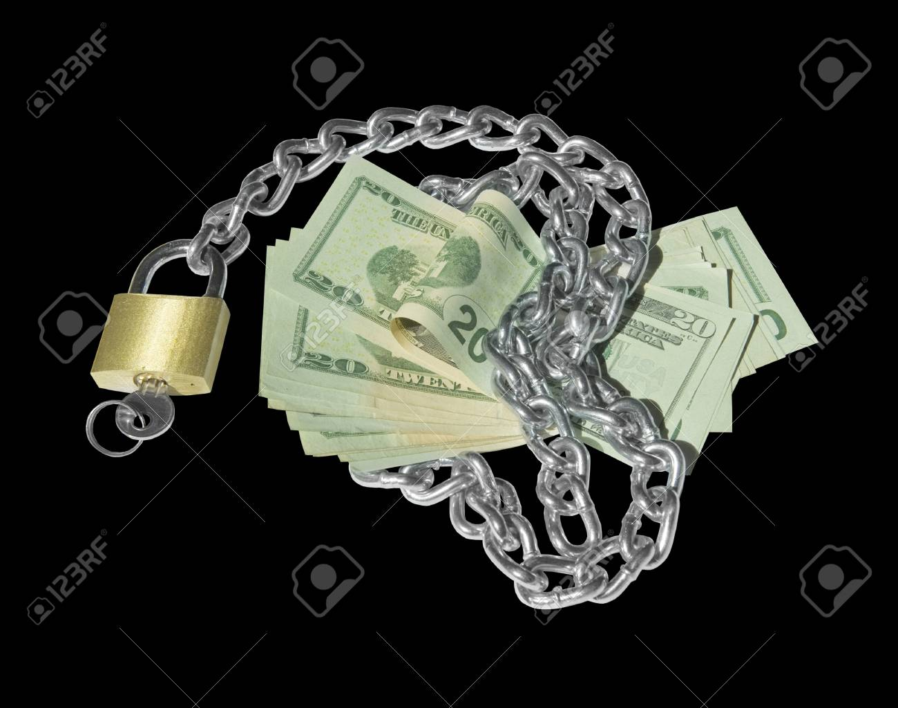Liquid asset secured with locked thick chain. Isolated on black. Stock Photo - 17495537