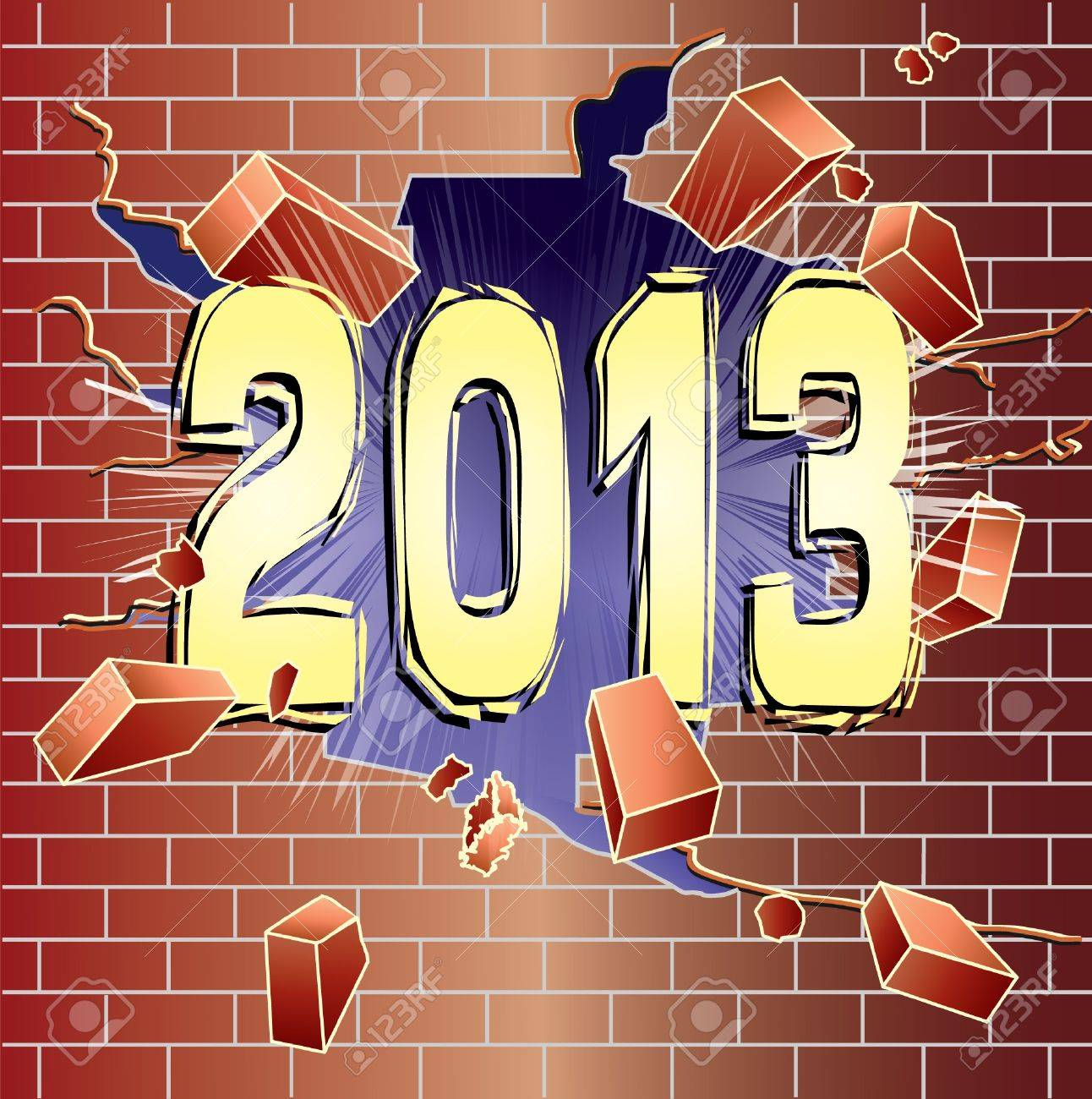 New Year 2013 breaking through red brick wall Stock Vector - 17668811