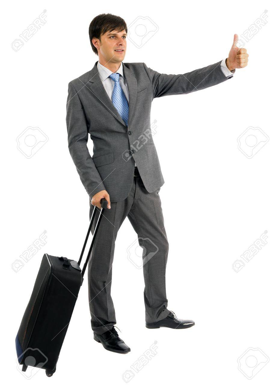 Young business man with his trolley bag isolated on white Stock Photo - 15500905