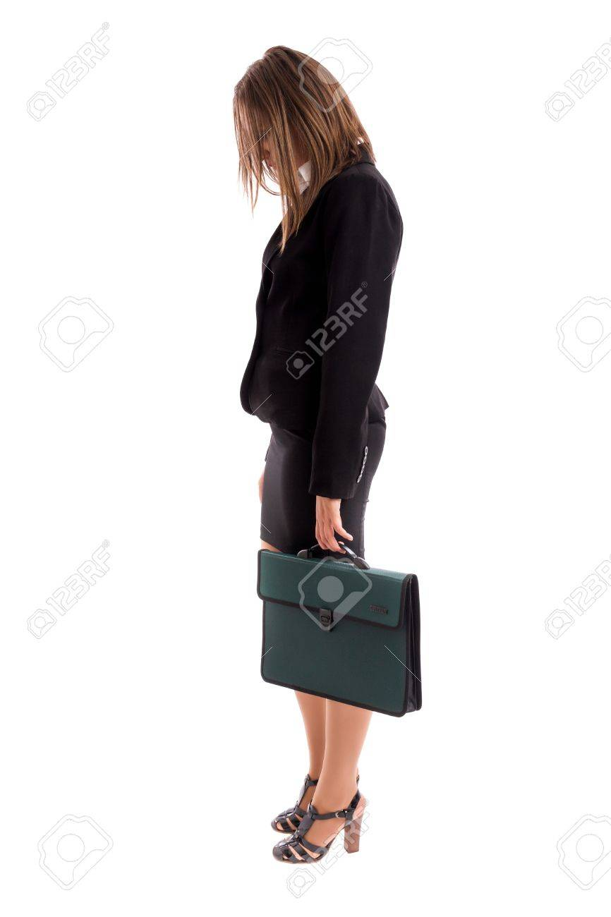 Overworked business woman carring her briefcase against white background Stock Photo - 16825774