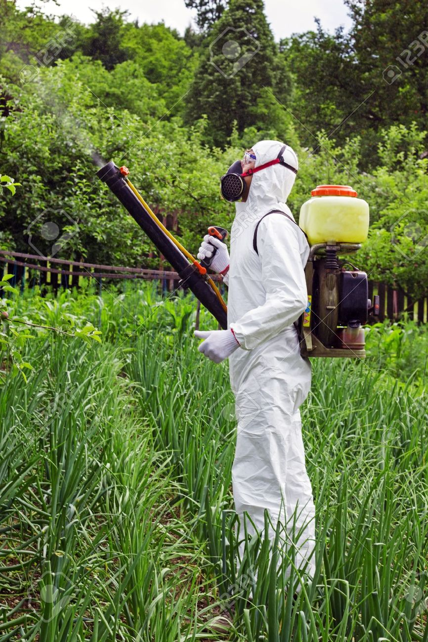 Man in full protective clothing spraying chemicals in the garden/orchard Stock Photo - 17325141