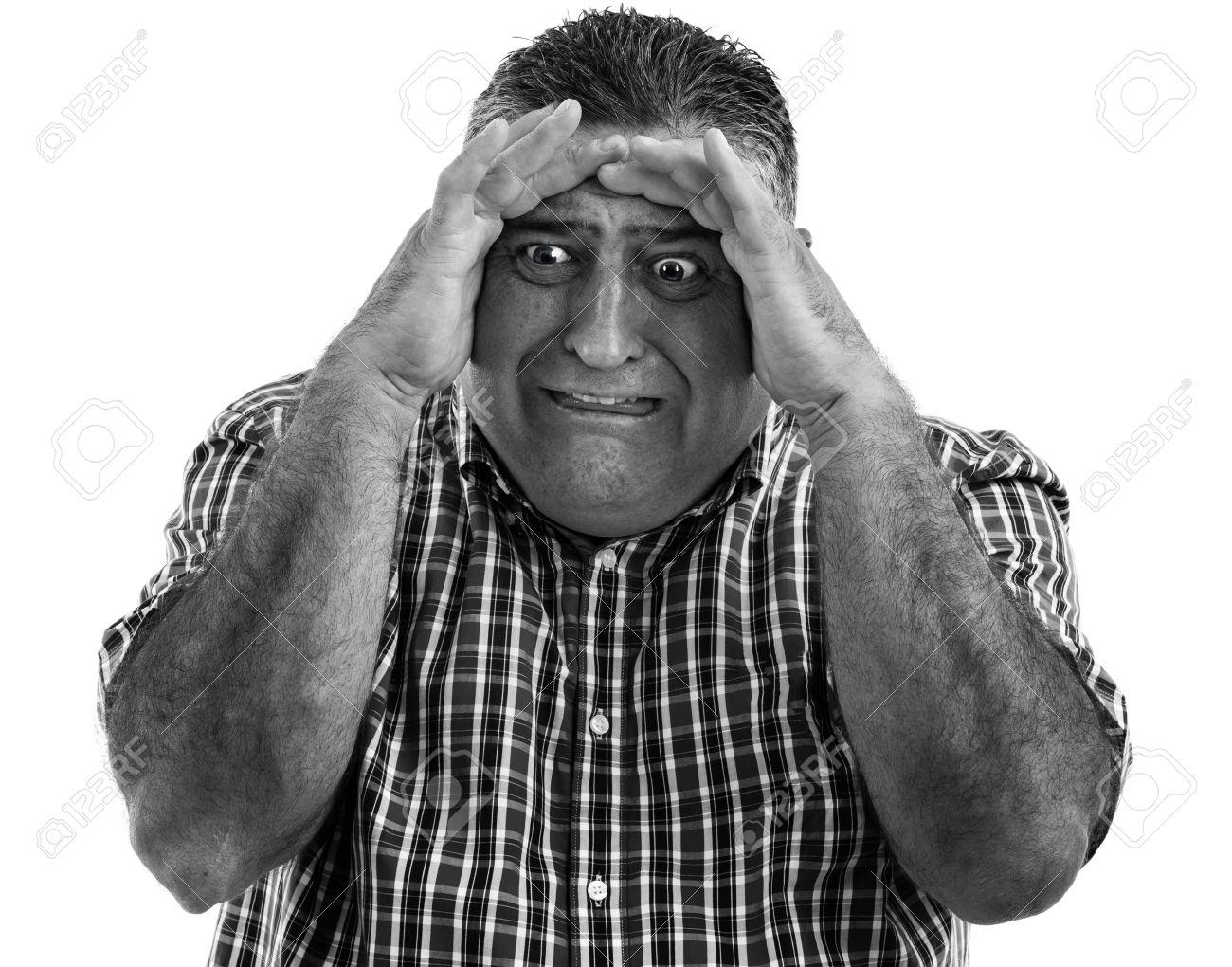 Monochrome portrait of a terrified man Stock Photo - 19669067