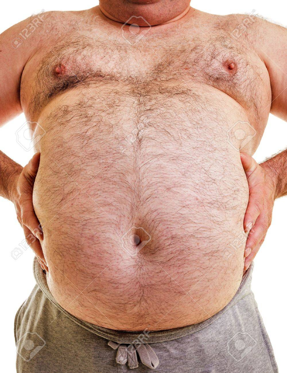 Closeup portrait of a big belly on white background Stock Photo - 19695595