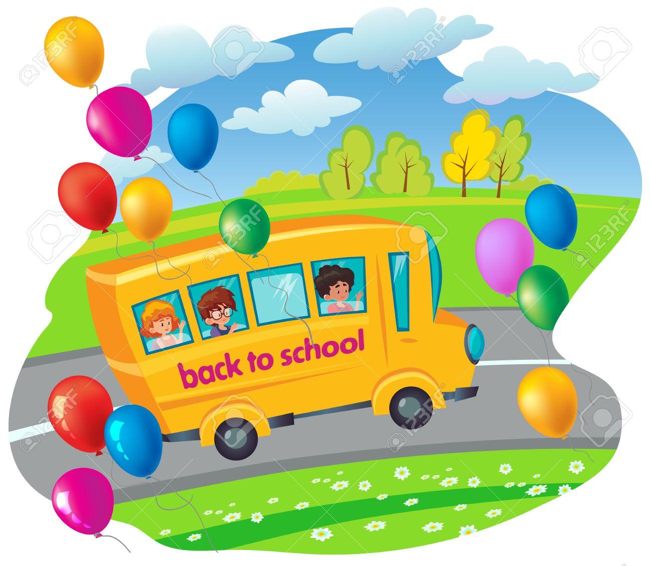 Autobús Escolar Con Los Niños Que Se Mueven En El Camino Volar