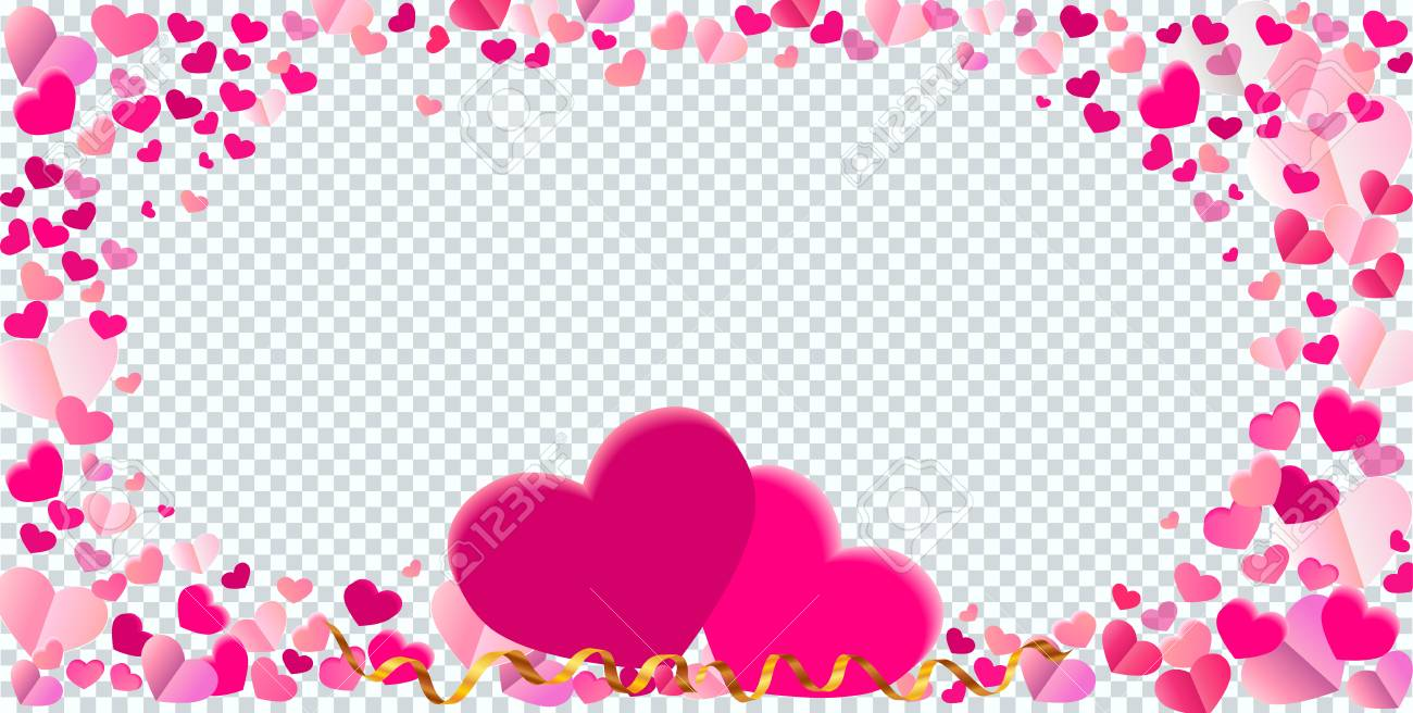 Heart Shape Different Pink Confetti Vector Frame With Two Big ...