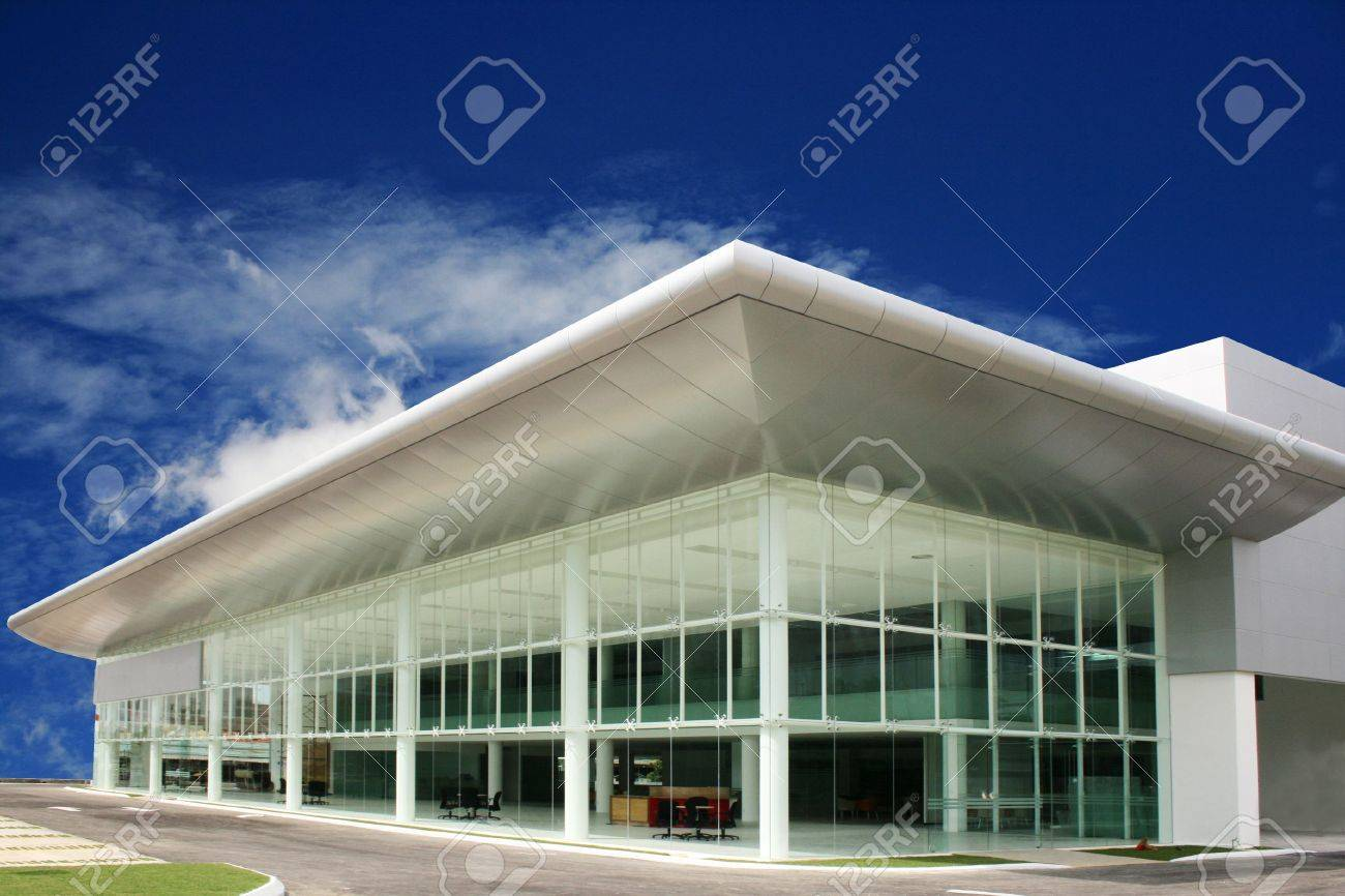 modern  business   buildings   in  deep blue  sky Stock Photo - 1053200