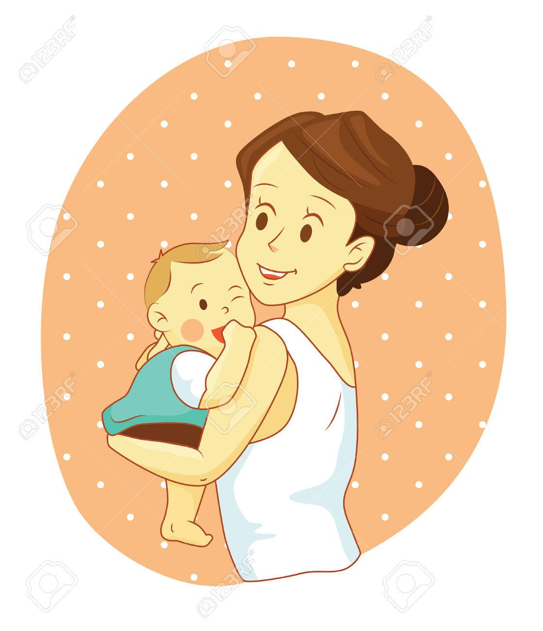 幸せママの赤ちゃんを抱いてのイラスト素材ベクタ Image 43928680
