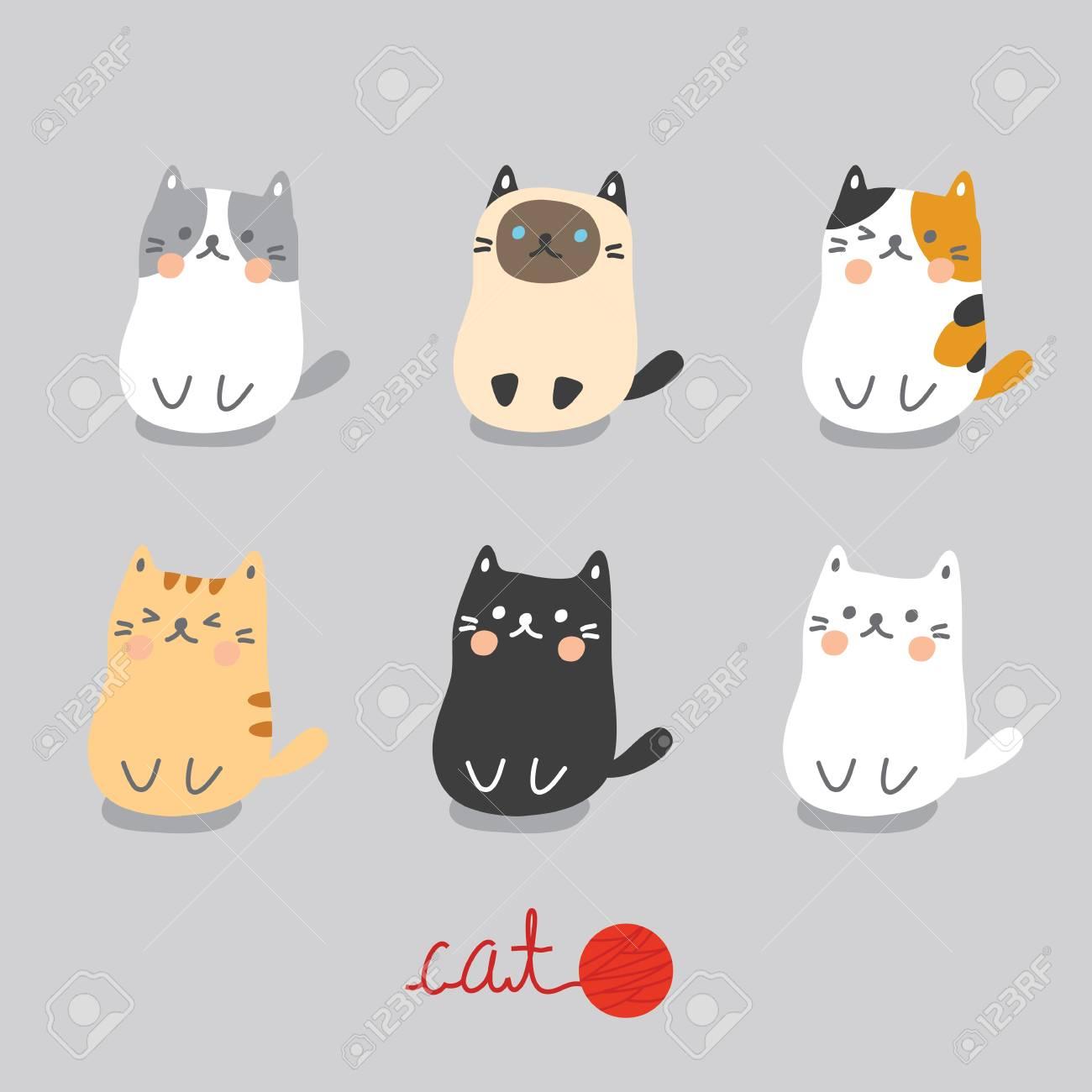座っているかわいい猫を設定します のイラスト素材 ベクタ Image