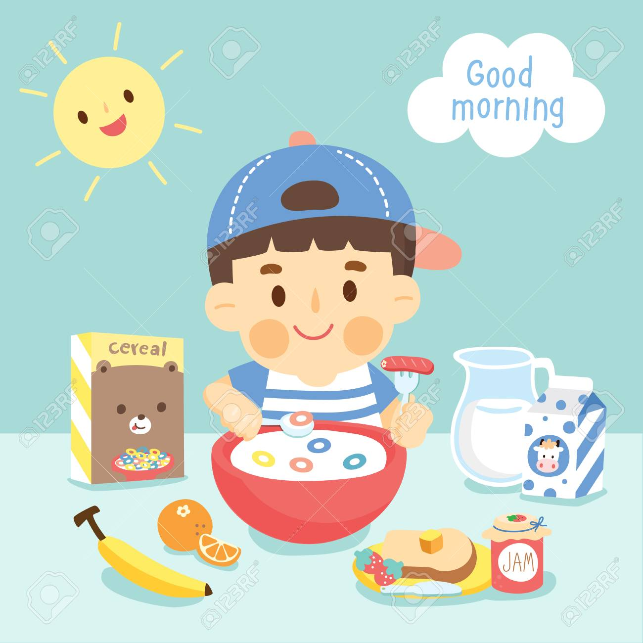 boy eating breakfast royalty free cliparts, vectors, and stock