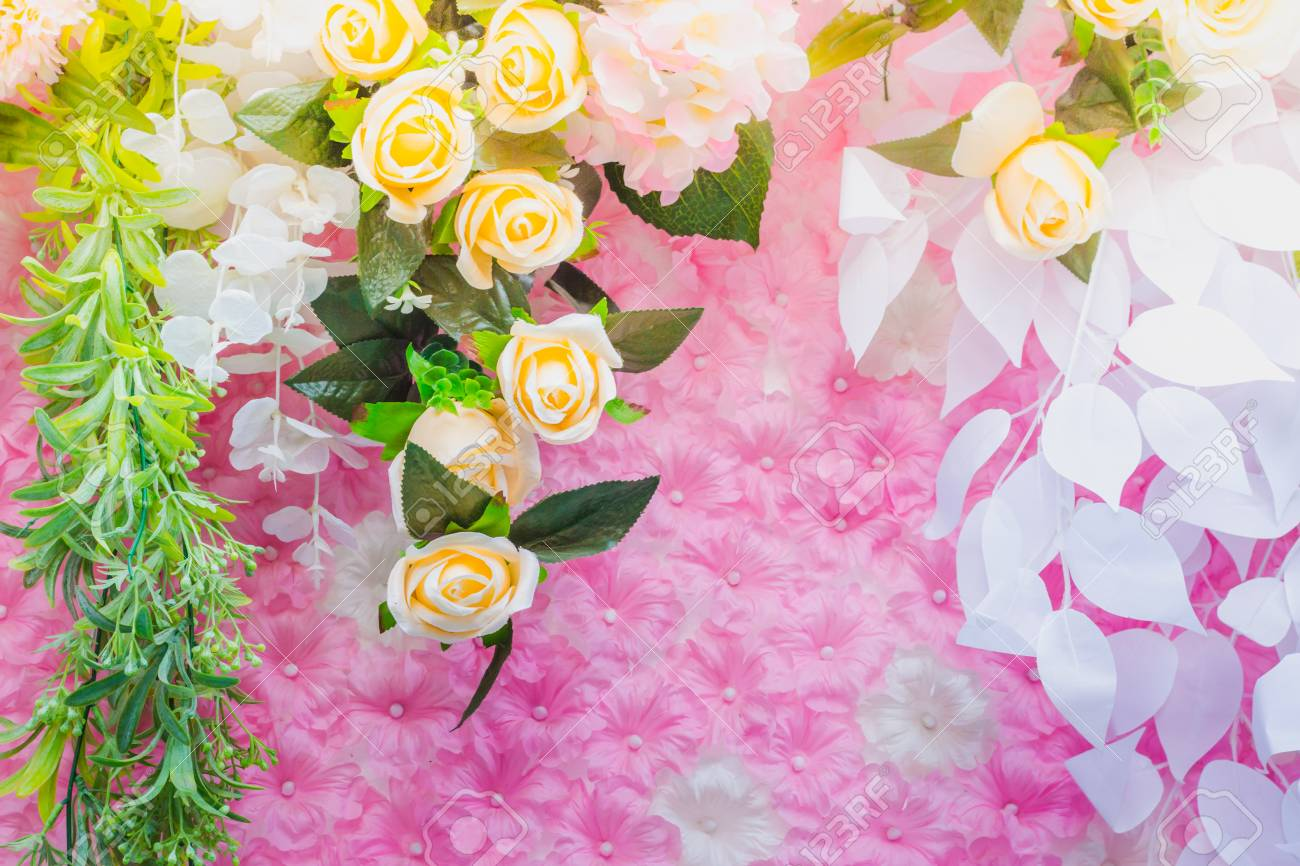 Beautiful Artificial Flowers Decorate The Scene In The Festival
