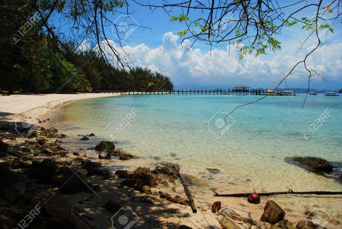 Pier Und Strand Inseln In Der Nähe Von Kota Kinabalu Sabah