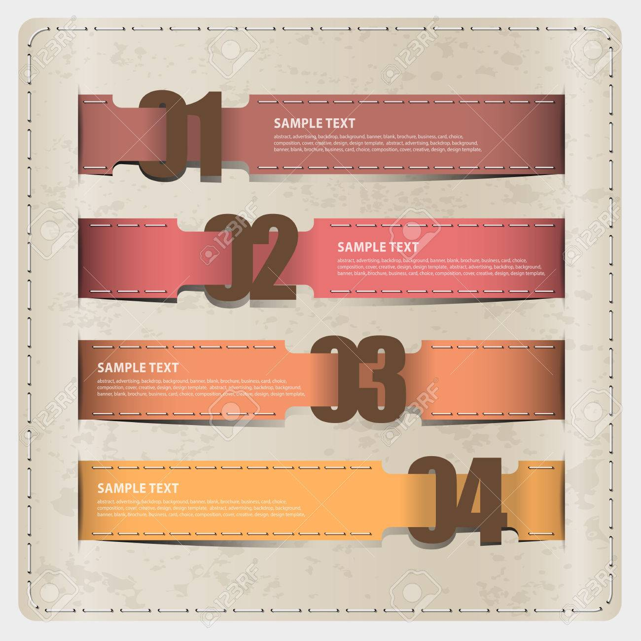 Ribbon Soft Color Design With Number Template Numbered Banners ...