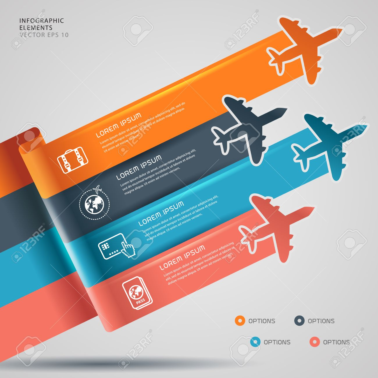 Background with colorful airplanes travel infographic  Vector illustration Stock Vector - 22969530