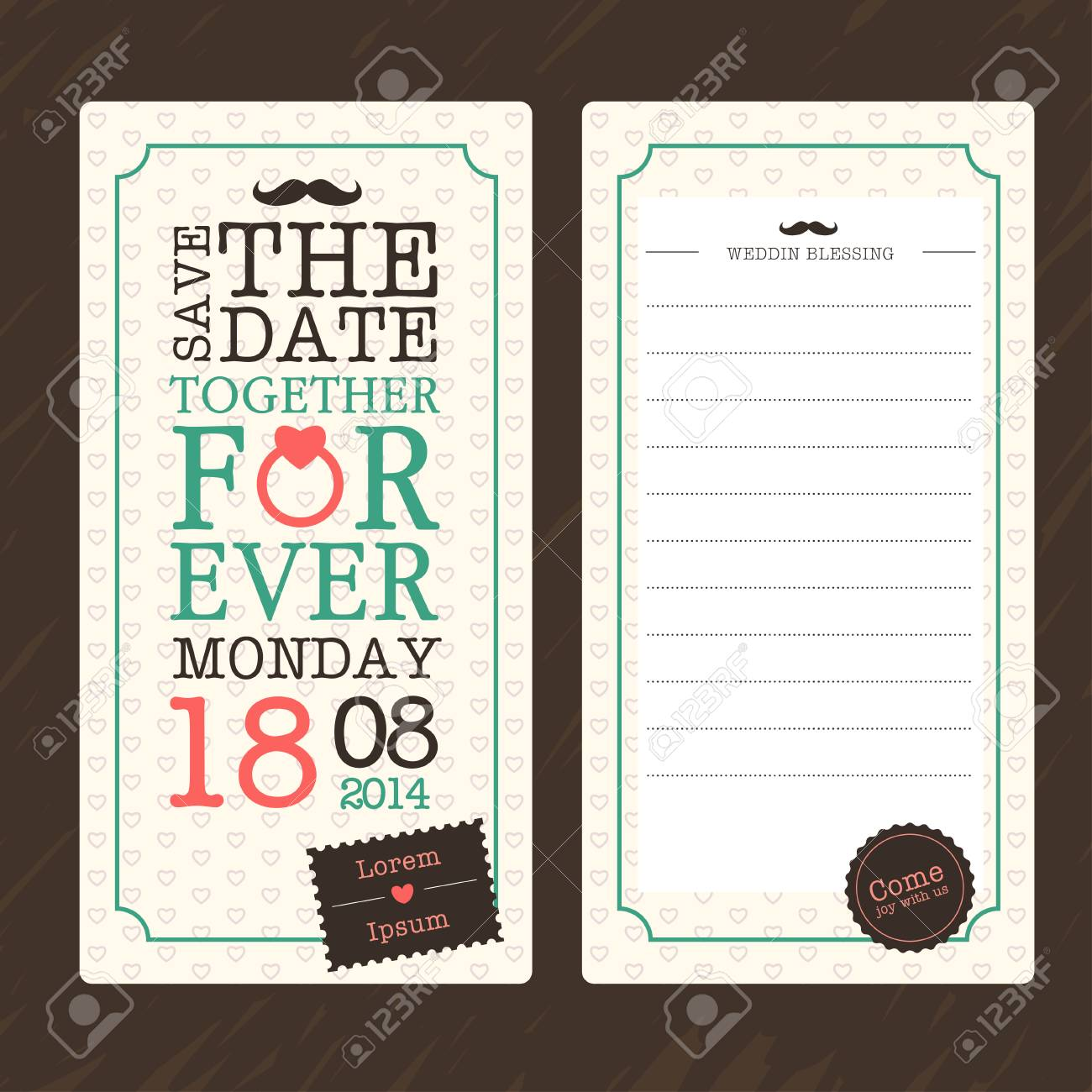 Vintage Ticket Wedding Invitation Card Template Royalty Free