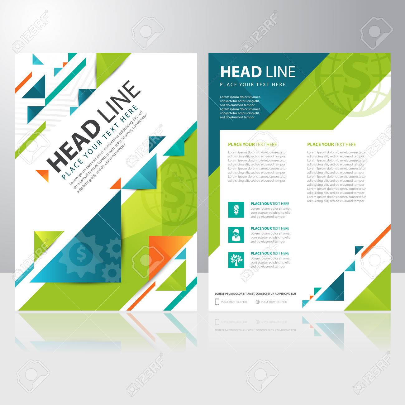Abstract Triangle Business Brochure Flyer Design Vector Template ...