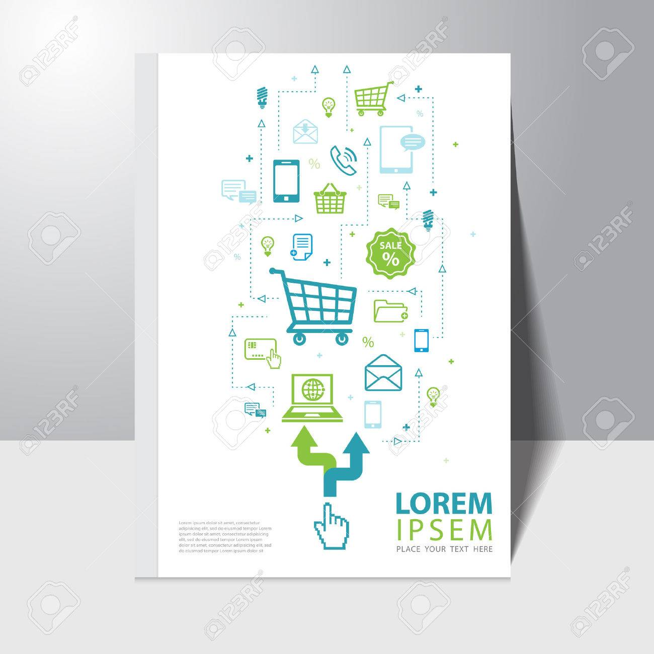 vector e commerce and shopping online book cover design template