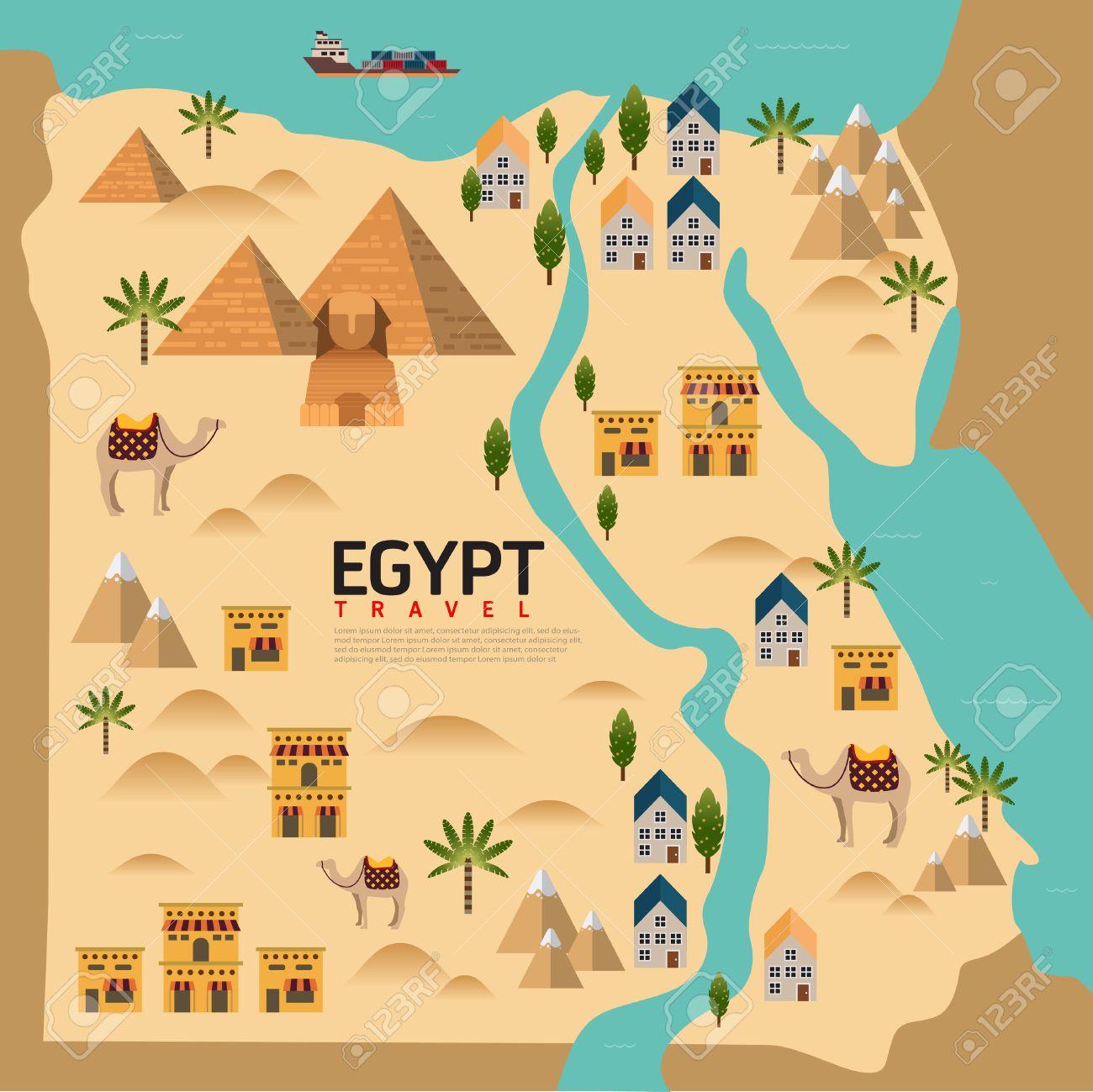 Design Egypt Travel And Landmark ConceptVector Royalty Free - Map of egypt landmarks